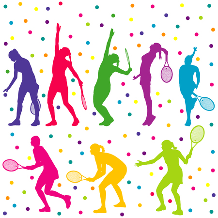 tennis serve: Colored tennis players silhouette collection Illustration
