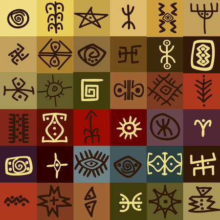 Tribal Ethnic Symbols Colorful Background Royalty Free Cliparts