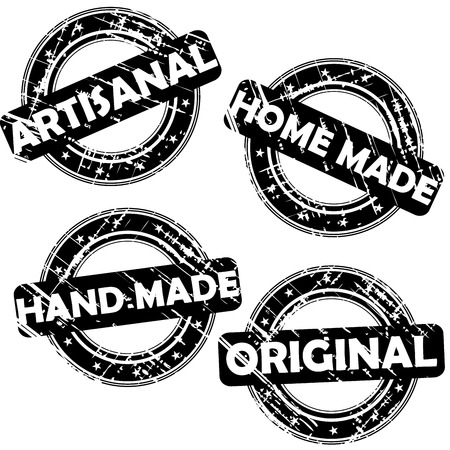 artisanal: Set of Stamps with words Artisanal, Hand made, Home made and Original Illustration