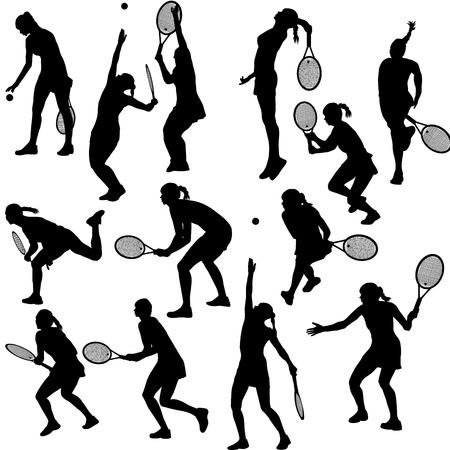 action girl: Set of silhouettes of the women who play tennis Illustration