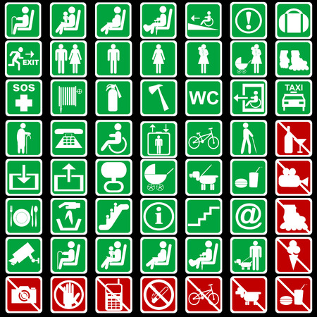 Set of international signs used in transportation means Ilustracja