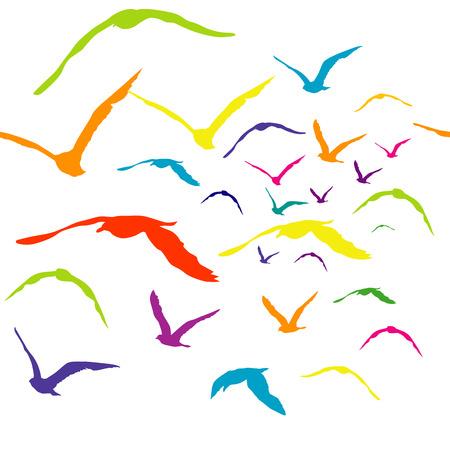 romance sky: Colored birds silhouettes, seamless pattern Illustration
