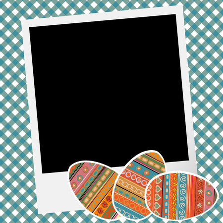 scrapbook frame: Easter scrapbook with eggs and photo frame Illustration