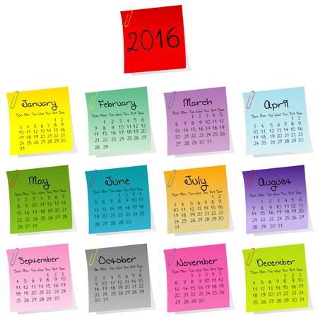 posted: 2016 calendar made of colored sheets of paper