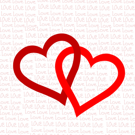 linked: Love background with txo linked hearts Stock Photo