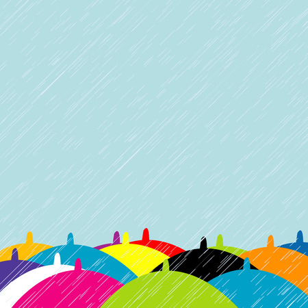 rainy days: Colorful umbrellas in rainy summer day