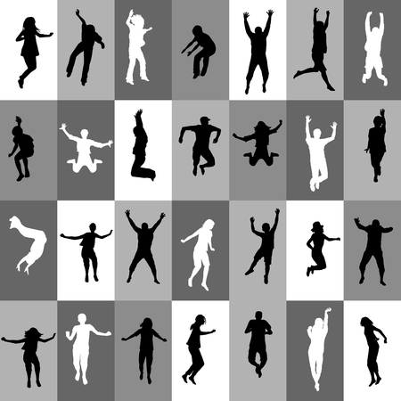 person silhouette: Retro background in squares with people silhouettes jumping