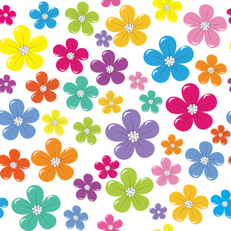 flower pattern: Floral seamless background with colorful flowers Illustration