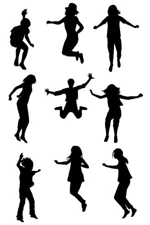 silhouettes of children: Set of children silhouettes jumping
