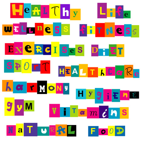 food hygiene: Healthy life terms background Illustration