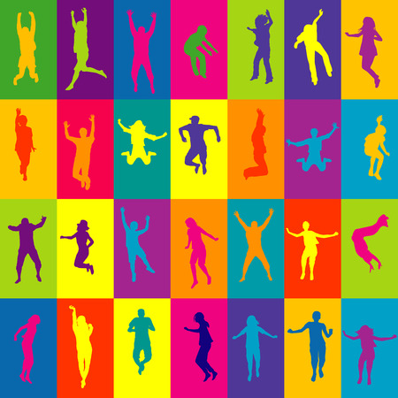 action girl: Retro background in squares with people silhouettes jumping