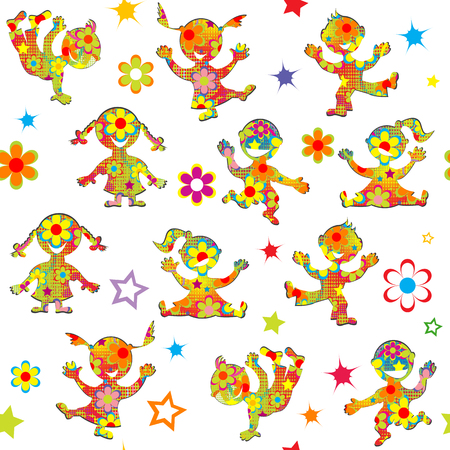 movement: Background with cartoon floral patterned kids