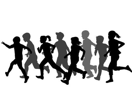 Children silhouettes running on white background