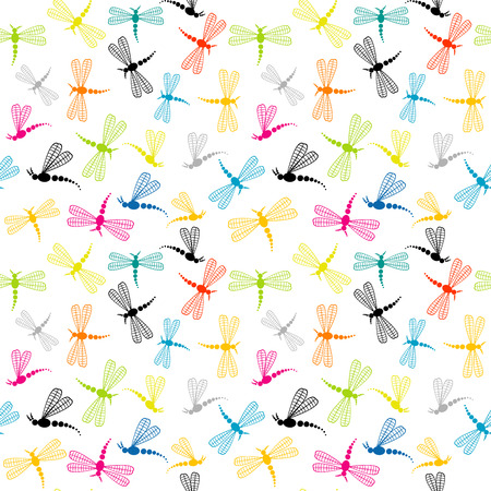 insect flies: Background with cartoon dragonflies