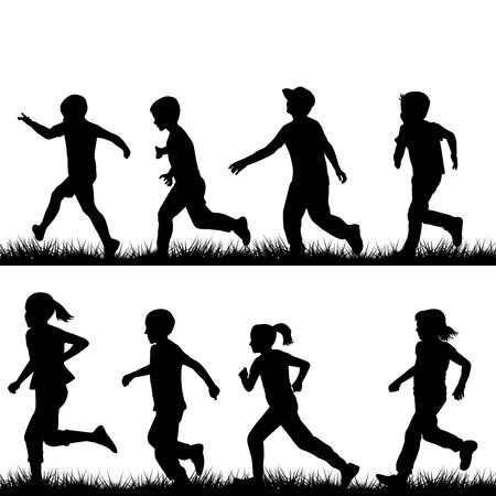 Conjunto de siluetas de los niños corriendo Ilustración de vector