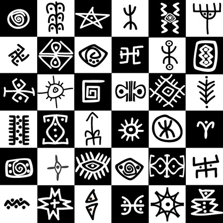 palaeolithic: Black and white squares background with ethnic motifs Illustration