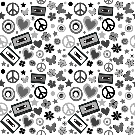 flower power: Black and white flower power background