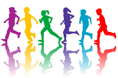 Colorful silhouettes of children running  イラスト・ベクター素材