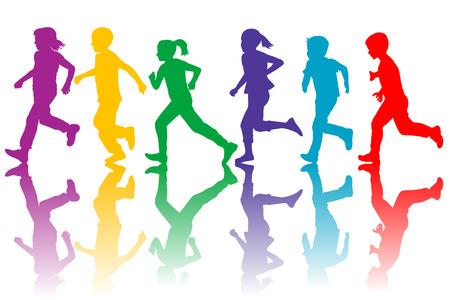 niño corriendo: coloridos siluetas de niños corriendo