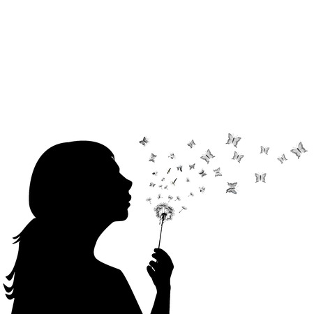 blowing dandelion: Girl blowing on dandelion and the seeds are transforming into butterflies