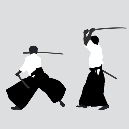 kendo: Men silhouettes practicing Aikido