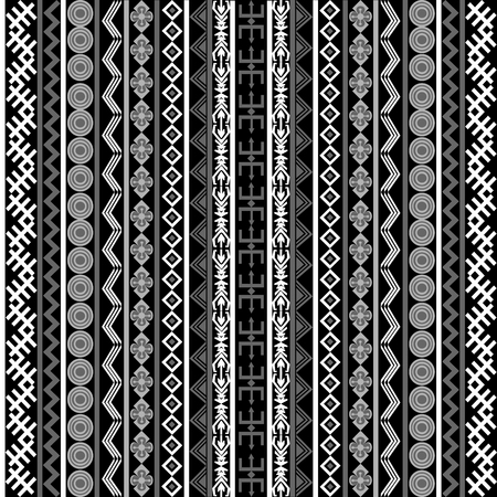 motifs: Black and white background with ethnic motifs and ornaments