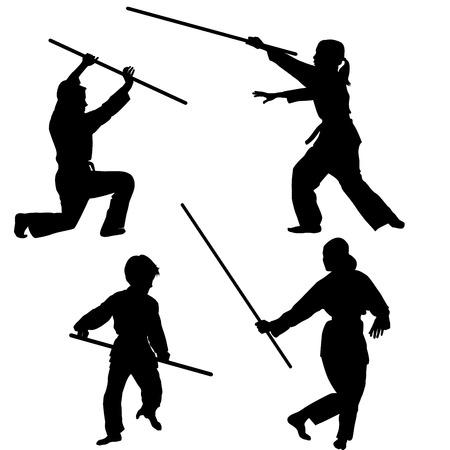 arts: Aikido kids silhouettes with weapons