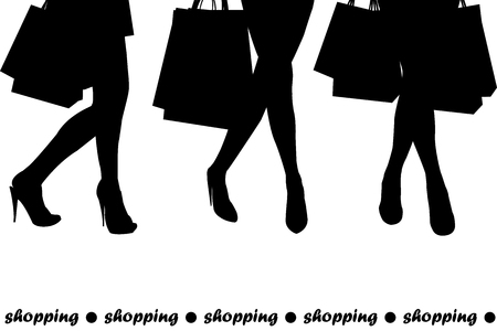 black fashion model: Women silhouettes holding shopping bags Illustration