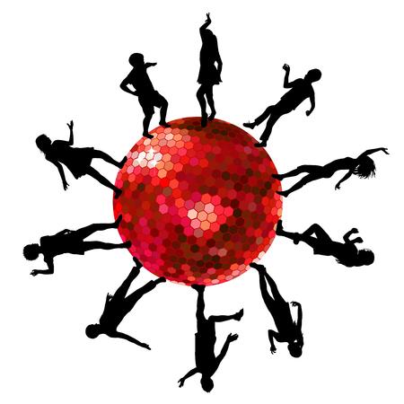 gente bailando: Siluetas de personas bailando en una bola de discoteca