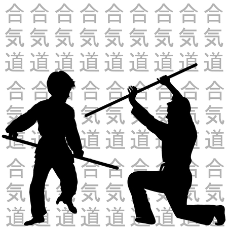 girl fight: Children black silhouettes practicing Aikido Illustration