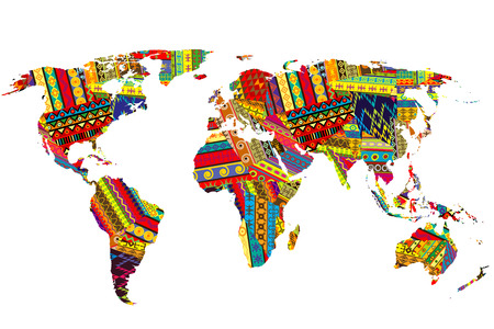 World map with ethnic motifs patchwork