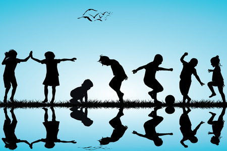 small group of animal: Group of children silhouettes playing outdoor Illustration