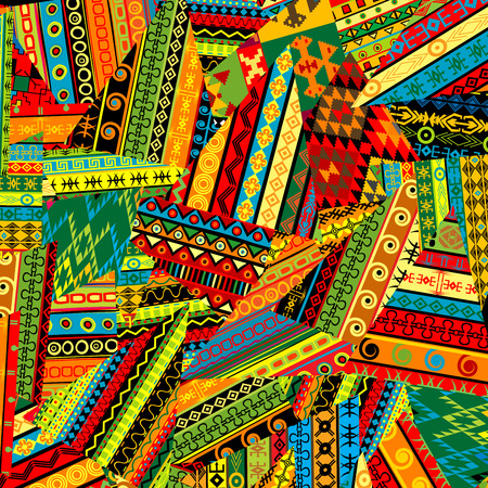 patchwork pattern: Colorful patchwork pattern with ethnic motifs