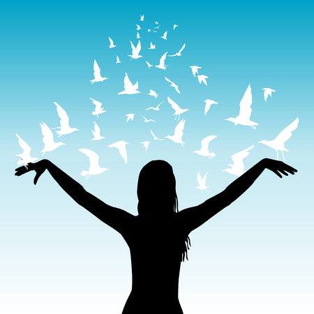 sky blue: Learning to fly abstract concept with silhouettes of woman and white birds