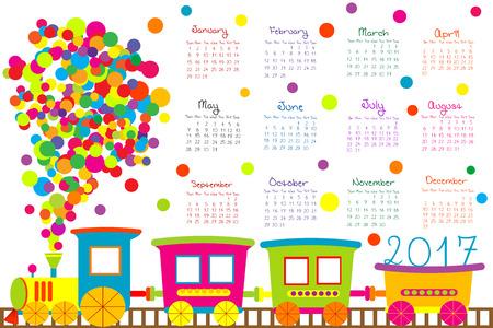 2017 kalender met cartoon trein voor kinderen Stock Illustratie