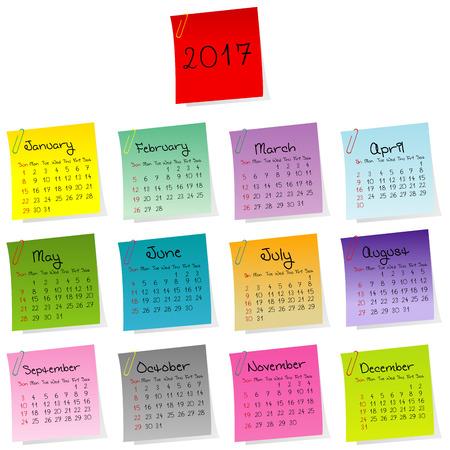 julie: 2017 calendar made of colored sheets of paper Illustration