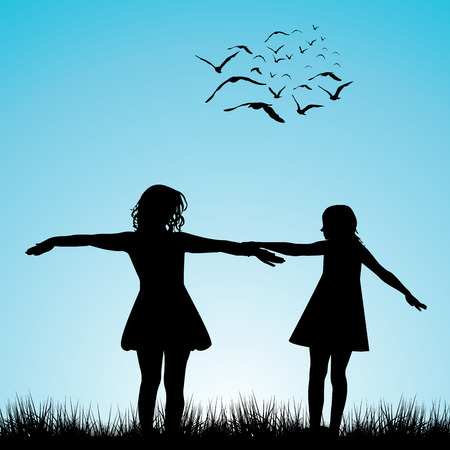 small flock: Silhouettes of two girls playing outdoor