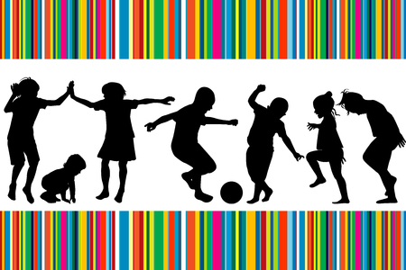 cartwheel: Card with silhouettes of children playing and colored stripes