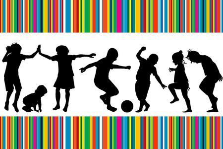 Kaart met silhouetten van spelende kinderen en gekleurde strepen Vector Illustratie