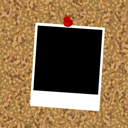 pin board: Cork board with instant photo frame and push pin Illustration