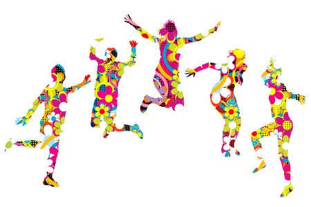 Floral patterned young people silhouettes jumping Illustration