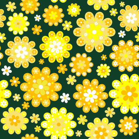 green texture: Yellow flowers seamless background
