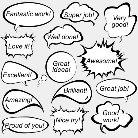 satisfaction: Set of speech bubbles with positive feedback messages Illustration