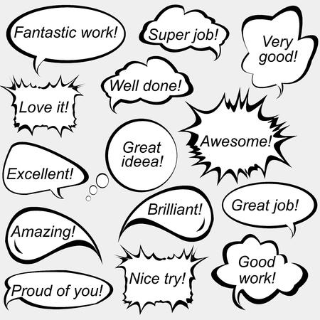 Set van tekstballonnen met positieve feedback berichten