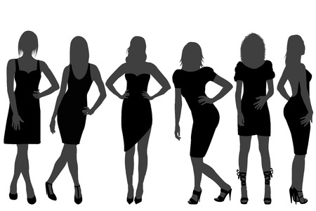 body shape: Women silhouettes set with rainbow color dresses and shoes