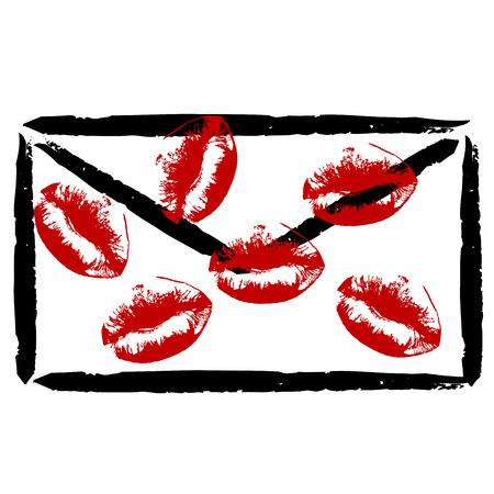 Stylized envelope with lipstick kisses on white background Illustration