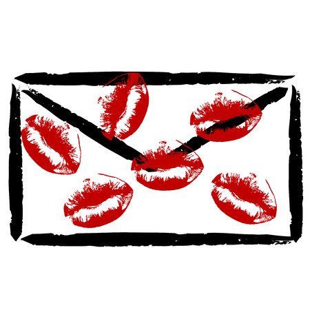 Stylized envelope with lipstick kisses on white background