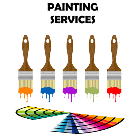 Painting paintbrushes and color samples Illustration