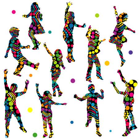 juntos: siluetas de colores con dibujos de los niños