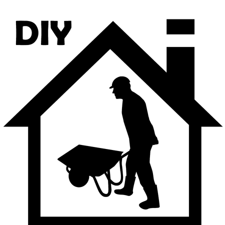 empujando: Trabajador de la silueta del hombre empujando una carretilla